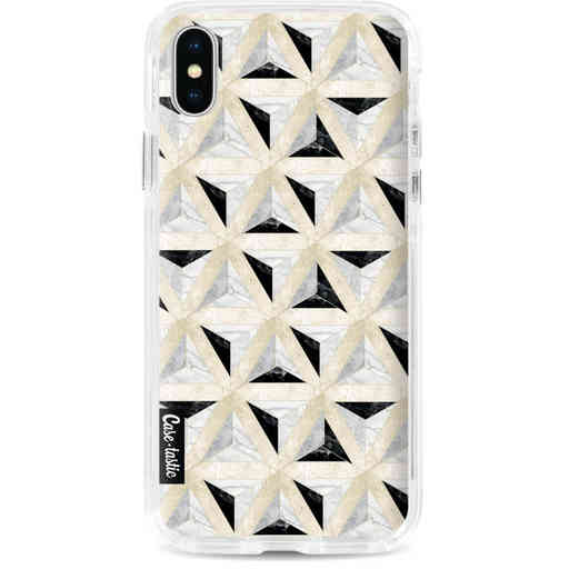 Casetastic Dual Snap Case Apple iPhone X / XS - Marble Triangle Blocks