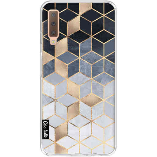 Casetastic Softcover Samsung Galaxy A7 (2018) - Soft Blue Gradient Cubes