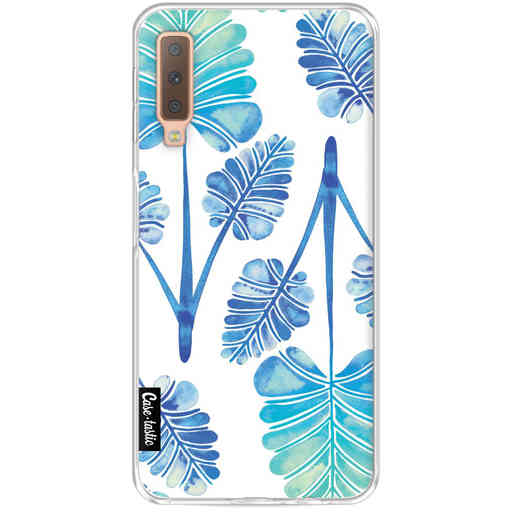 Casetastic Softcover Samsung Galaxy A7 (2018) - Blue Ombre Palm Leaf Trifecta Pattern