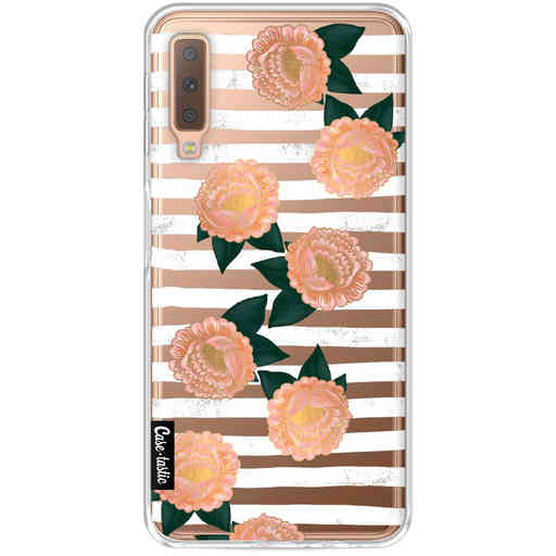 Casetastic Softcover Samsung Galaxy A7 (2018) - Striped Winter Flowers