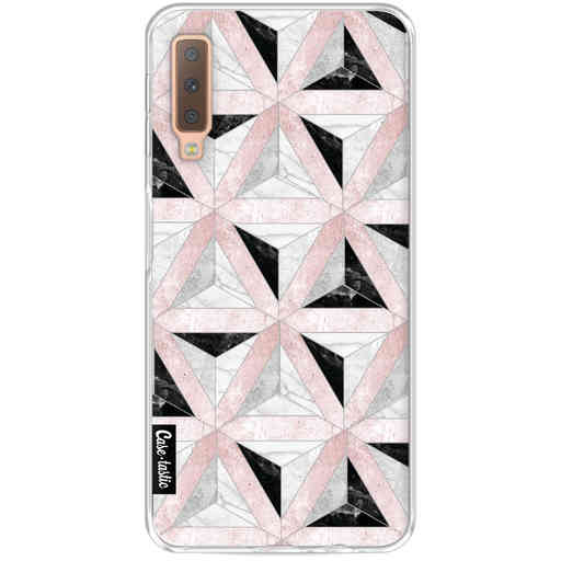 Casetastic Softcover Samsung Galaxy A7 (2018) - Marble Triangle Blocks Pink
