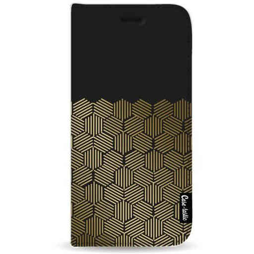 Casetastic Wallet Case Black Samsung Galaxy A9 (2018) - Golden Hexagons