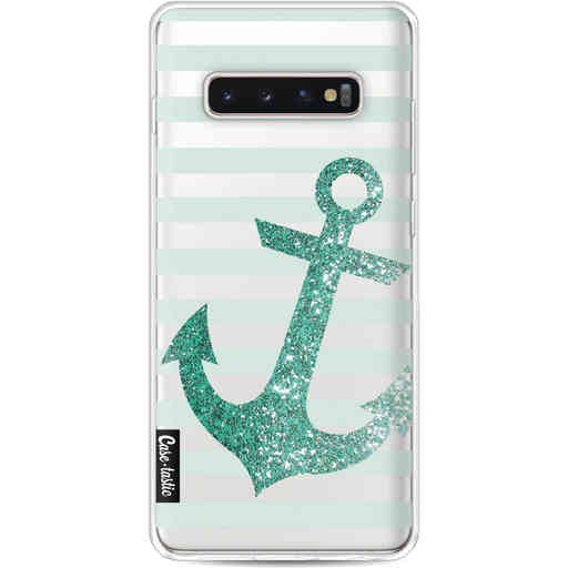 Casetastic Softcover Samsung Galaxy S10 Plus - Glitter Anchor Mint