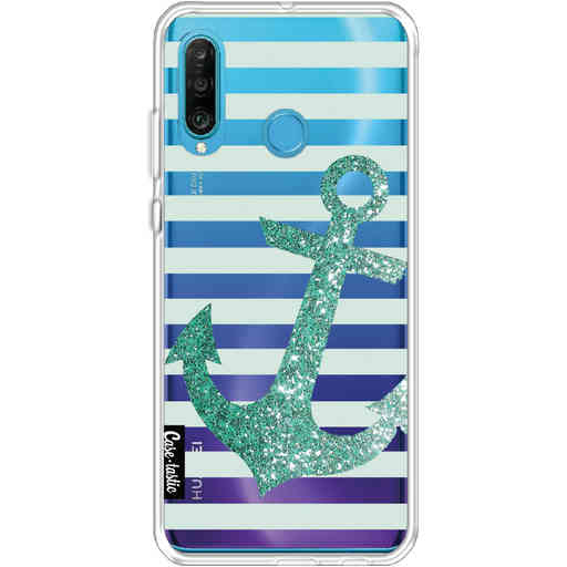 Casetastic Softcover Huawei P30 Lite - Glitter Anchor Mint