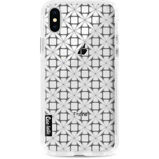 Casetastic Dual Snap Case Apple iPhone X / XS - Geometric Lines Silver