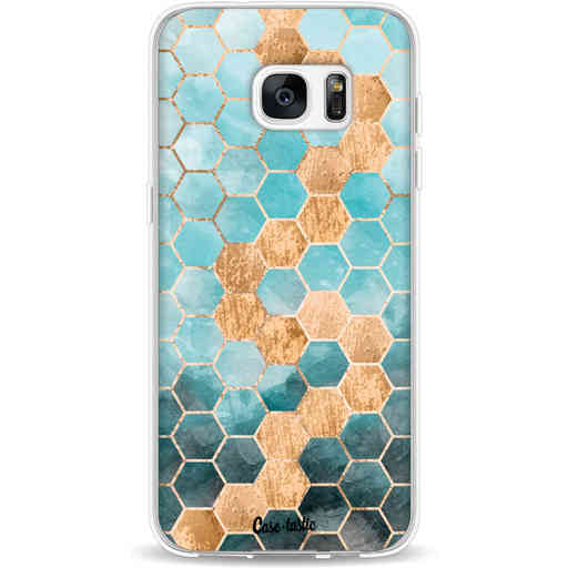 Casetastic Softcover Samsung Galaxy S7 Edge - Honeycomb Art Blue