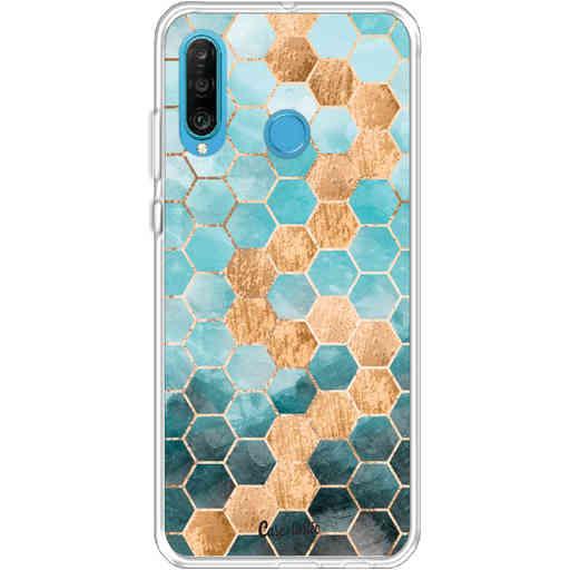 Casetastic Softcover Huawei P30 Lite - Honeycomb Art Blue