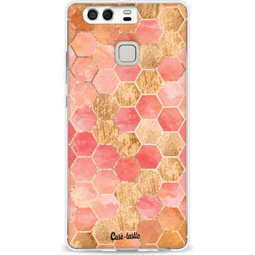 Casetastic Softcover Huawei P9 - Honeycomb Art Coral
