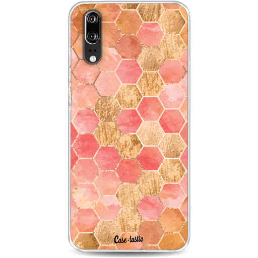Casetastic Softcover Huawei P20 - Honeycomb Art Coral